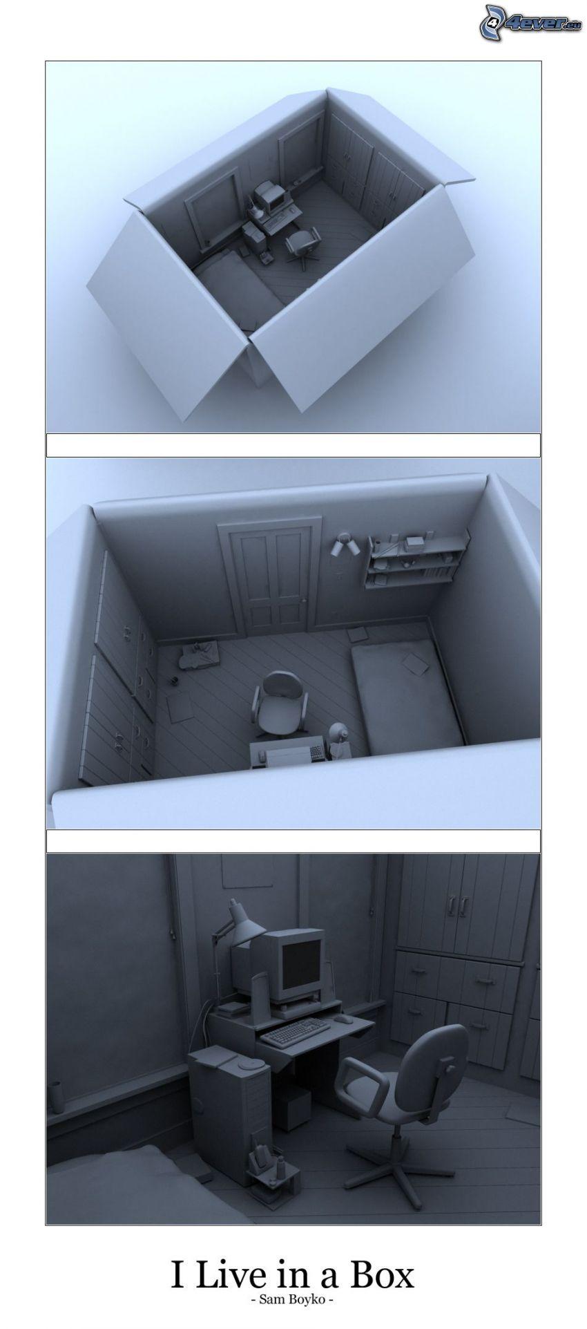 scatola, stanza