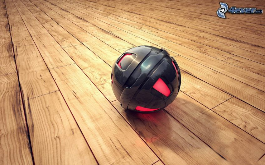 sfera metallica, pavimento di legno