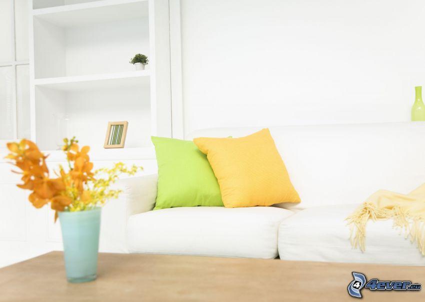 soggiorno, divano, cuscini, vaso