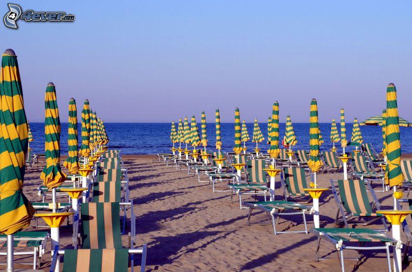 spiaggia, lettini, mare