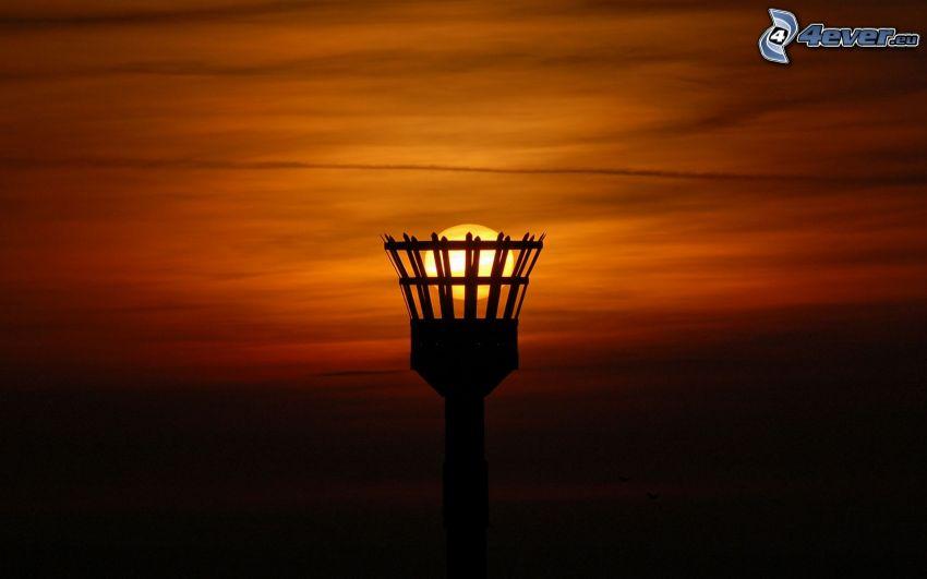 tramonto, cielo, palo