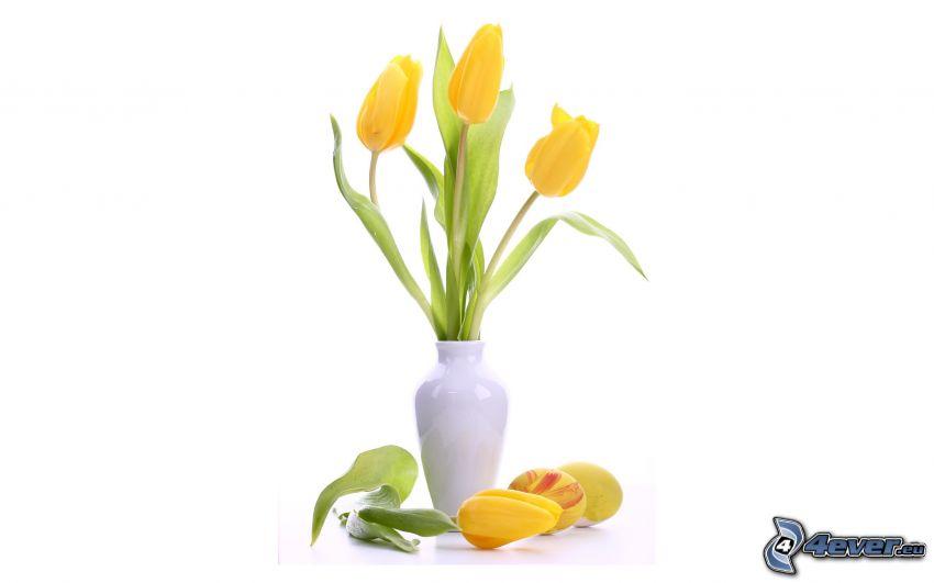 tulipani gialli, fiori in un vaso
