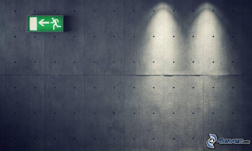 uscita di emergenza, muro
