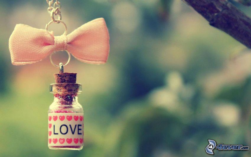 amore, bottiglia, fiocco, love