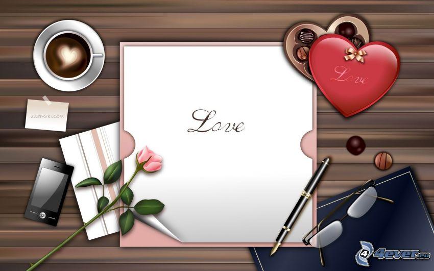 amore, tavolo, carta