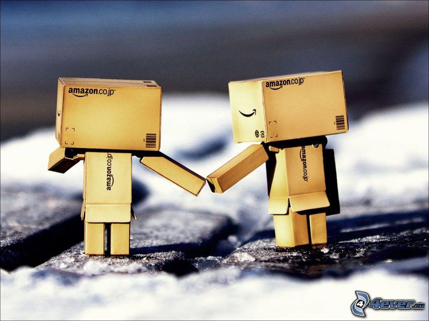 amore di robot, coppia, tenendosi per mano