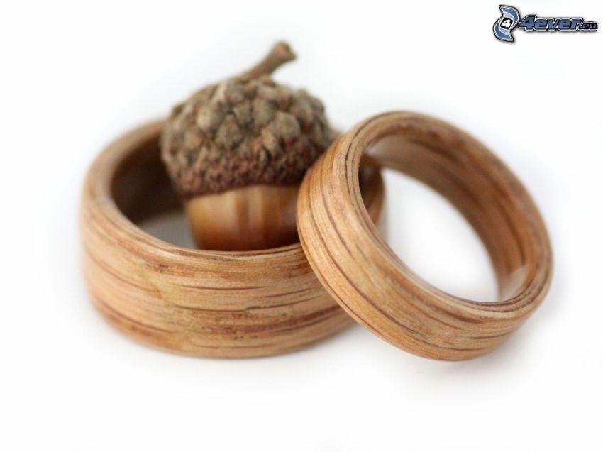 anelli di nozze, legno, ghianda