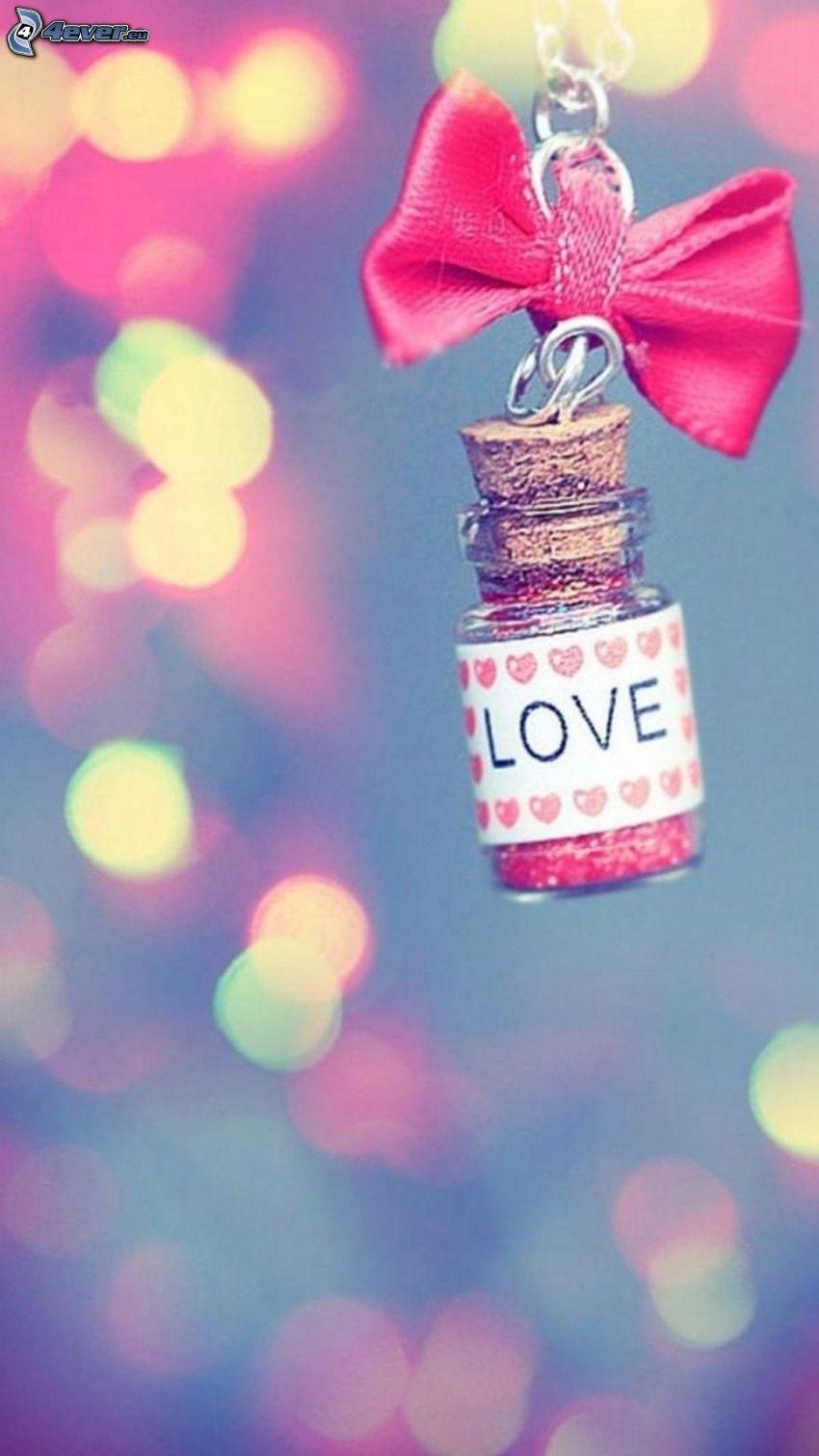bottiglia, love, fiocco