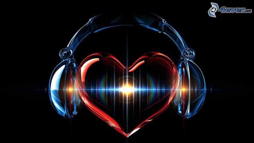 cuore, cuffie, sfondo nero