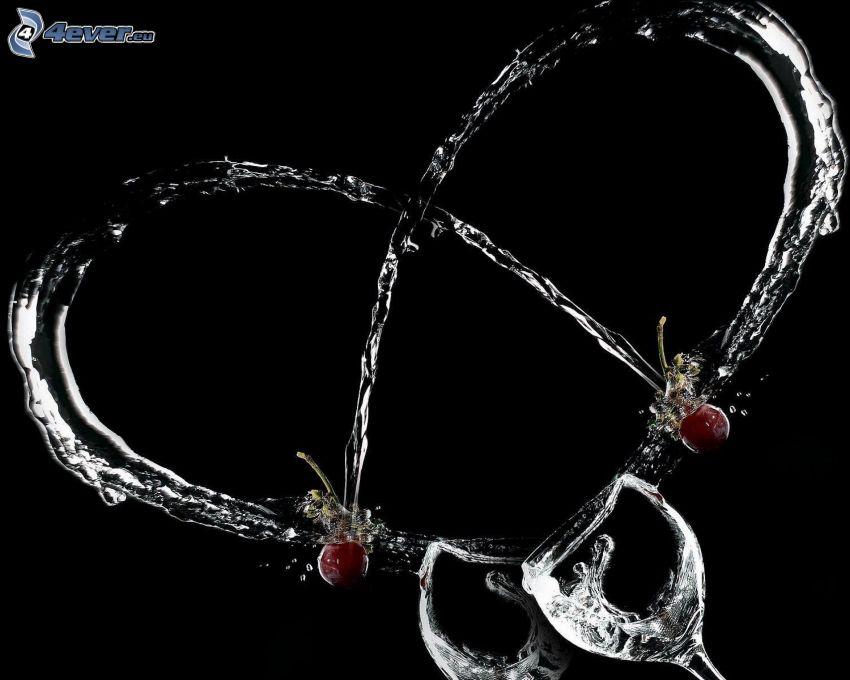 cuore, acqua, ciliegie, bicchieri