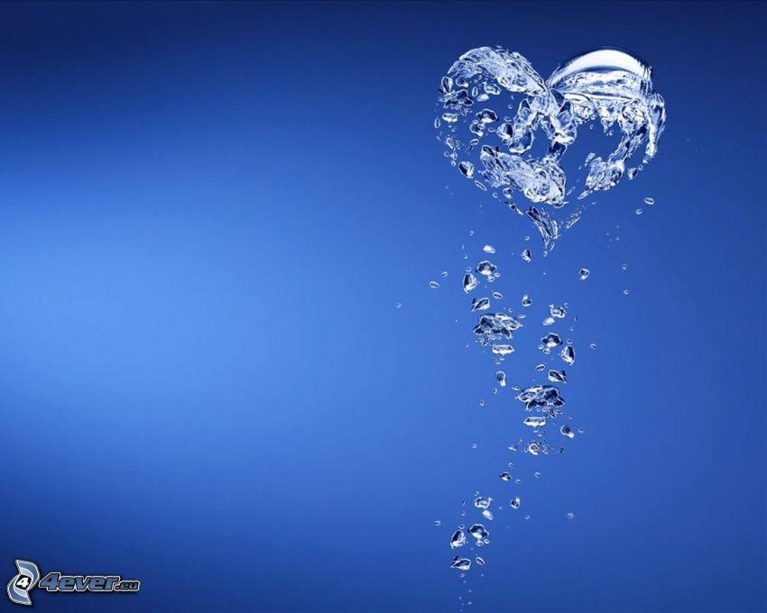 cuore, acqua, splash, sfondo blu