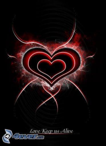 cuore, amore, nera, rosso