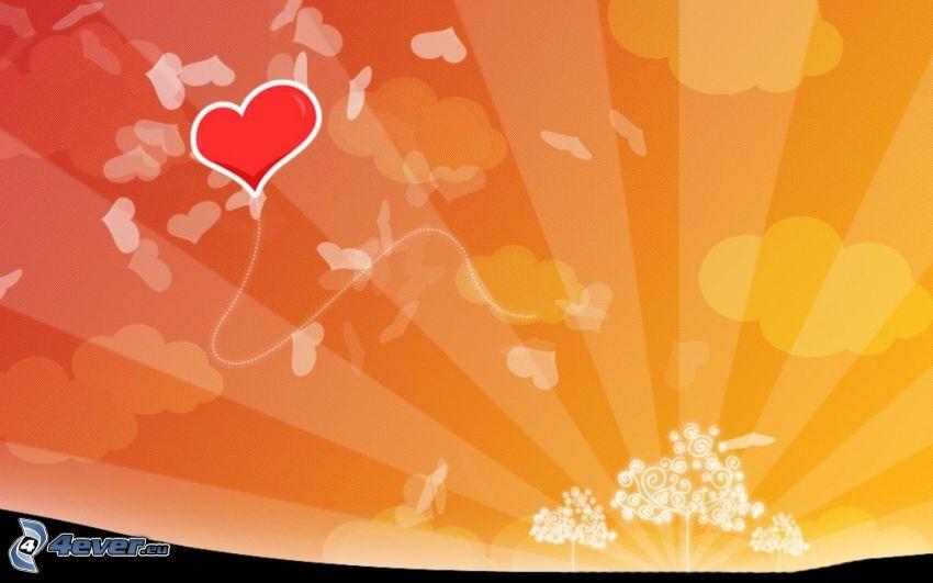 cuore, disegno degli alberi, raggi del sole, palloncino