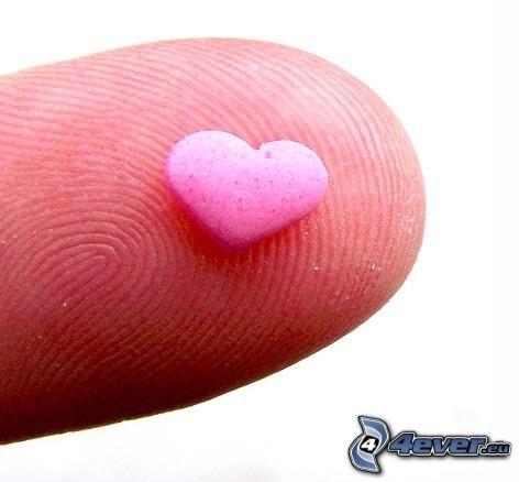cuore, dito, caramelle