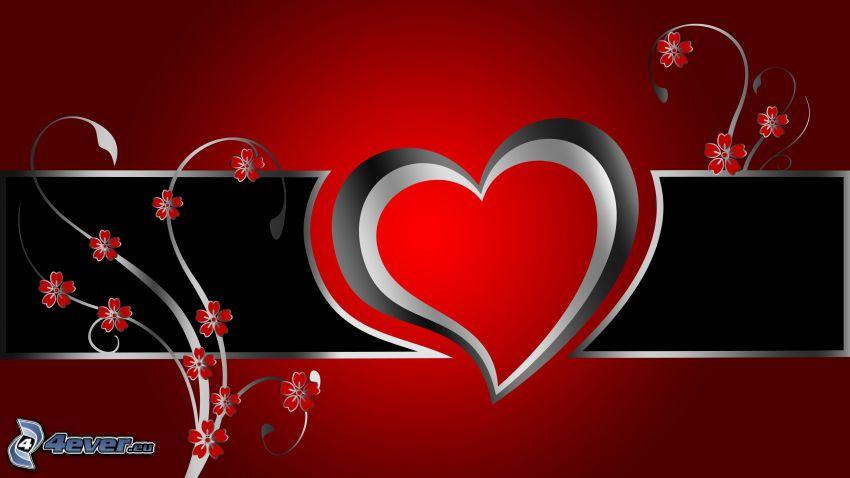 cuore, fiori rossi, sfondo rosso
