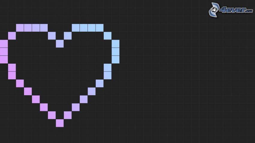 cuore, pixel, quadrati