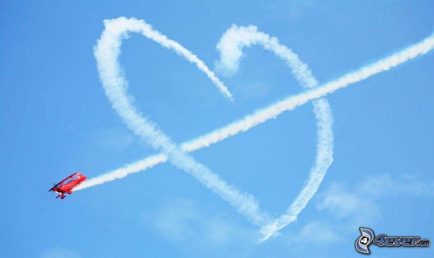 cuore, scia di condensazione, piccolo aereo sportivo