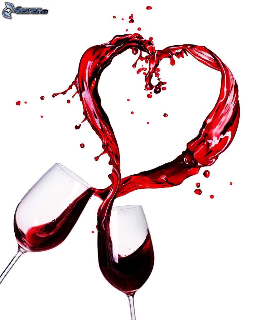 cuore, vino, bicchieri