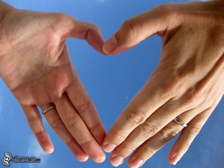 cuore delle mani, anelli di nozze
