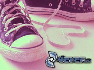cuore di lacci, scarpe da ginnastica, scarpe, coverse scarpe