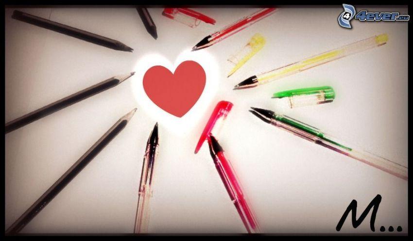 cuore nel centro, matite