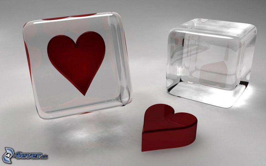 cuore nel vetro, cuori rossi, cubi