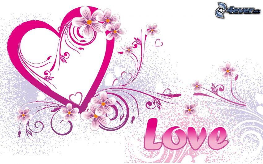 cuore viola, fiori, love
