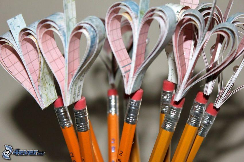 cuori, matite
