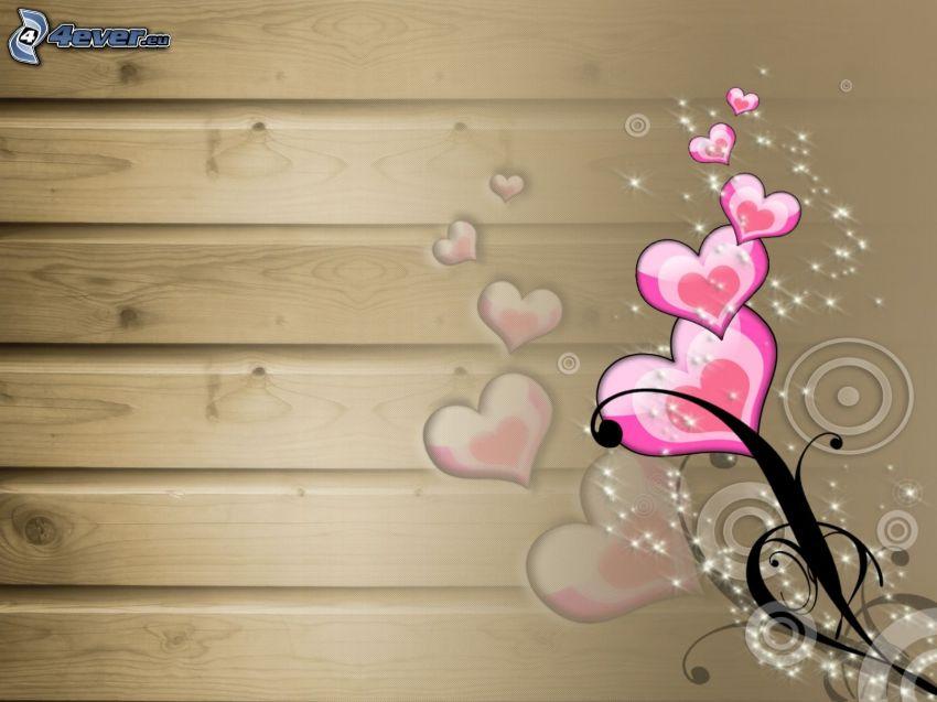 cuori rosa, parete di legno