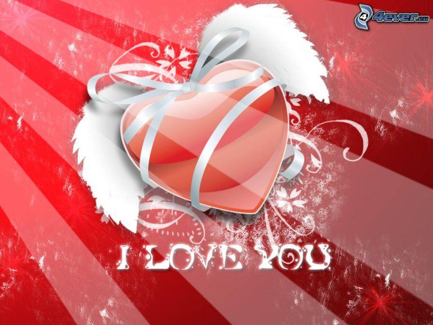 I love you, cuore con le ali, fiocco