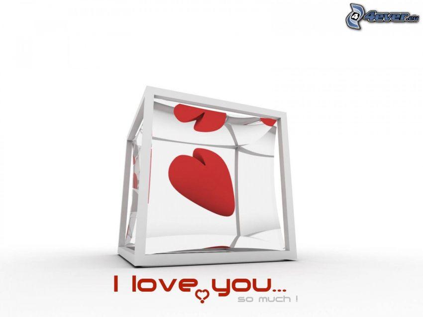 I love you, cuore nel vetro, cubo