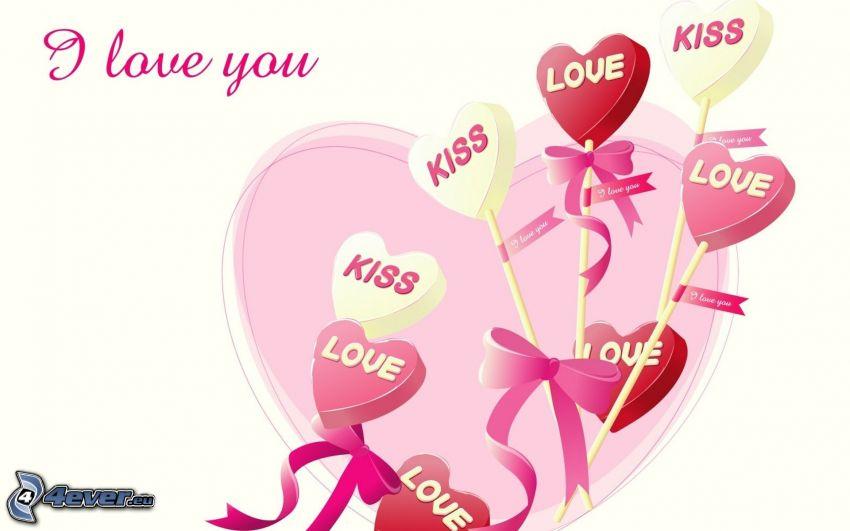 I love you, cuori, love, kiss