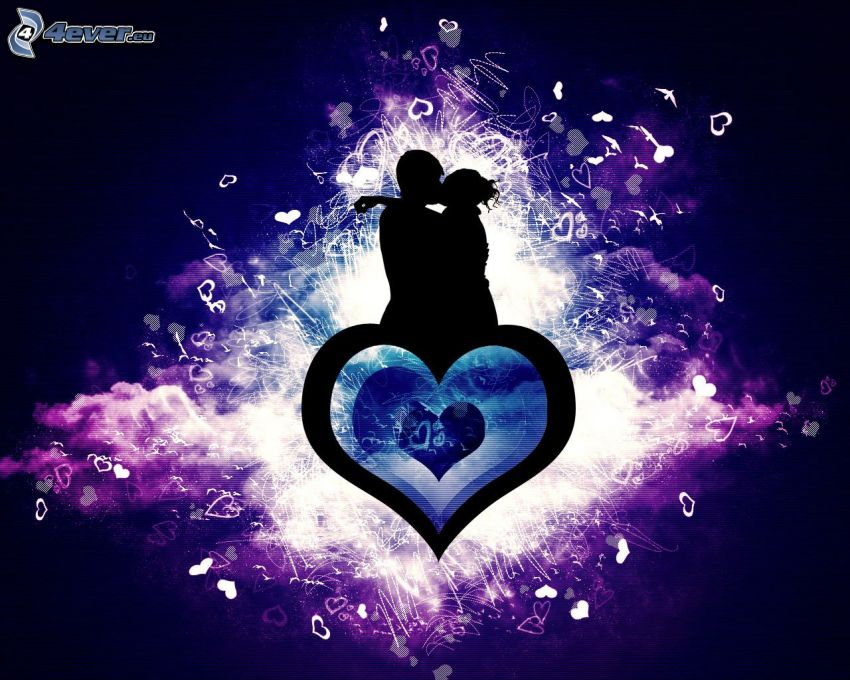 siluetta di una coppia, cuore, amore, cuori, arte digitale