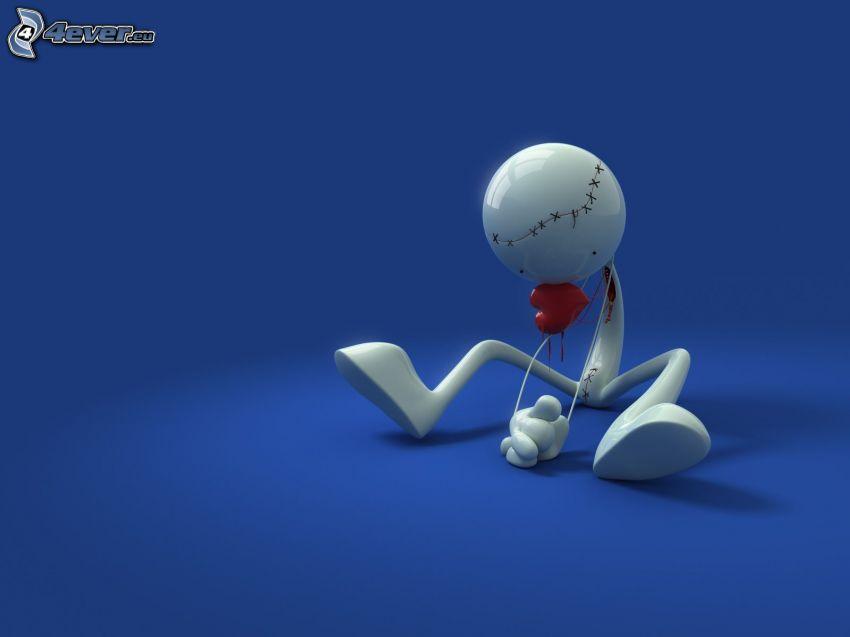 figura, cuore, palla, tristezza