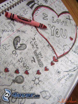 I love you, disegno, cuori, pennarello, quaderno