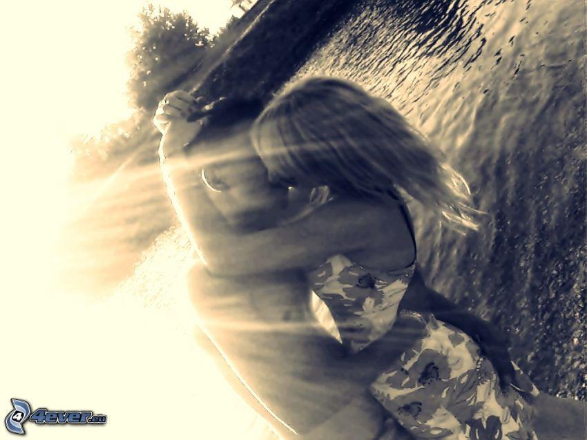 bacio, coppia in un abbraccio, raggi del sole, romanticismo, Ti amo