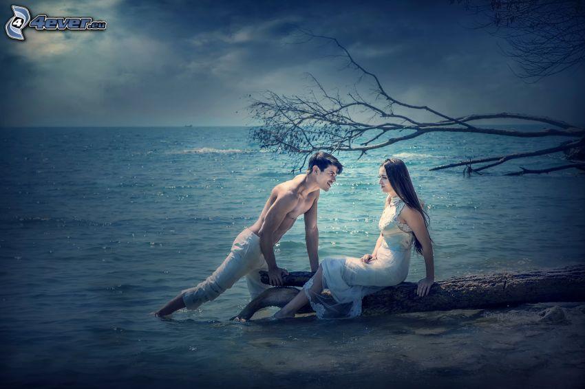 coppia, alto mare, abito bianco