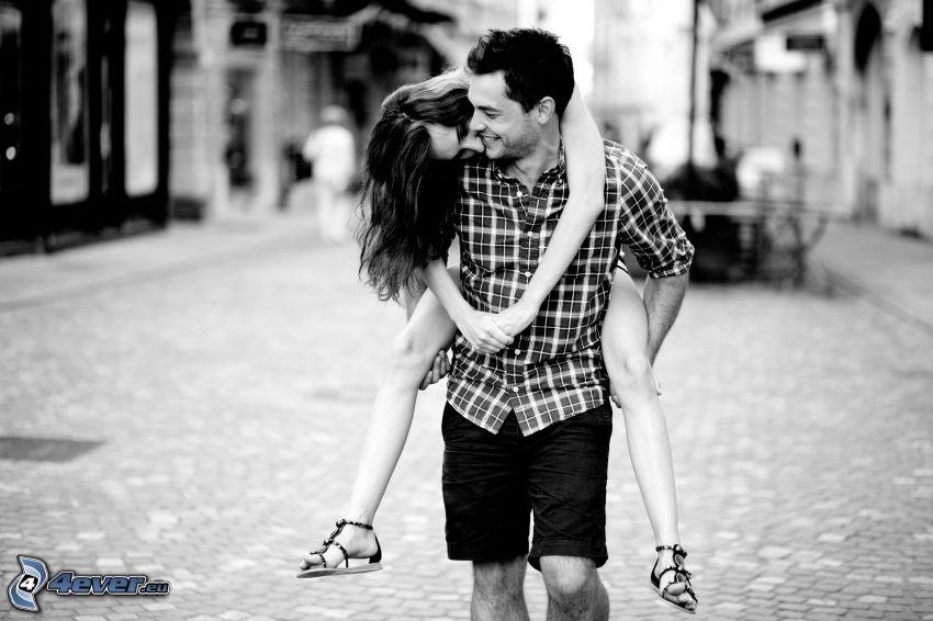 coppia, gioia, sorriso, foto in bianco e nero