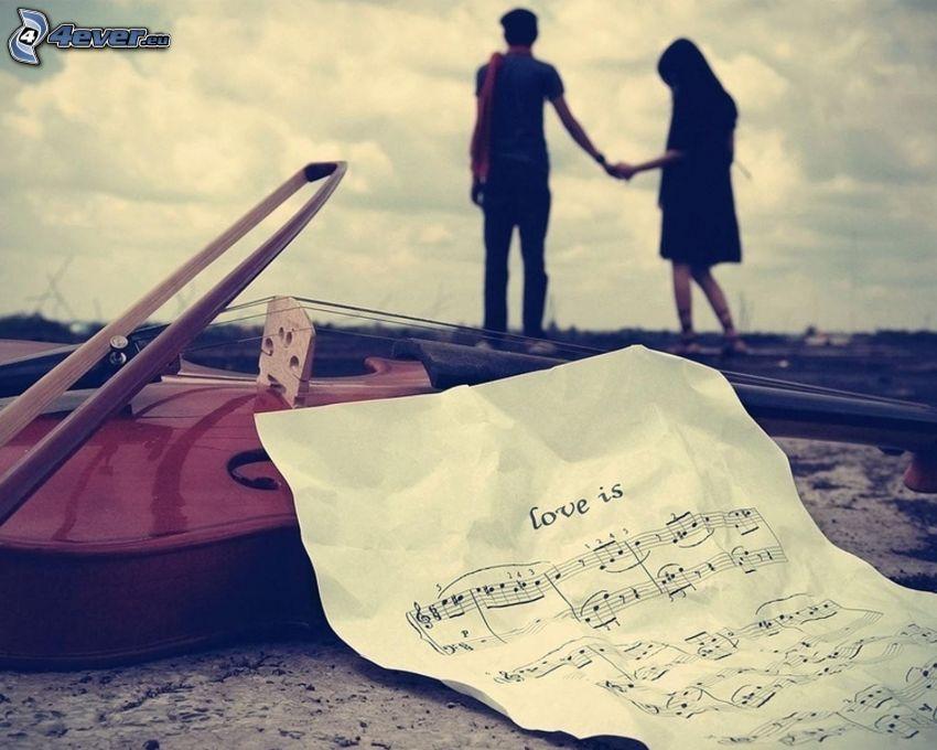 coppia, tenendosi per mano, note, love, violino