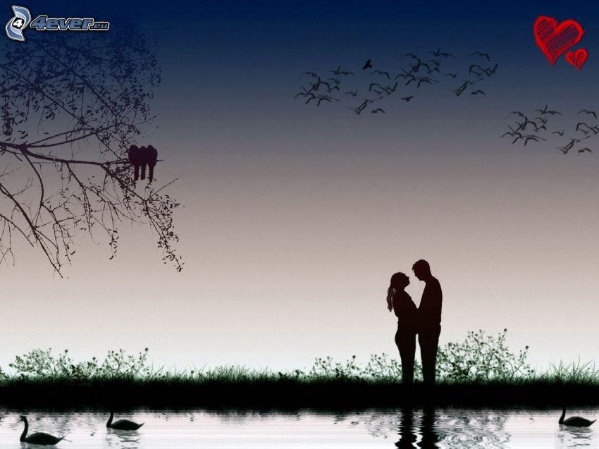 coppia al lago, stormo di uccelli