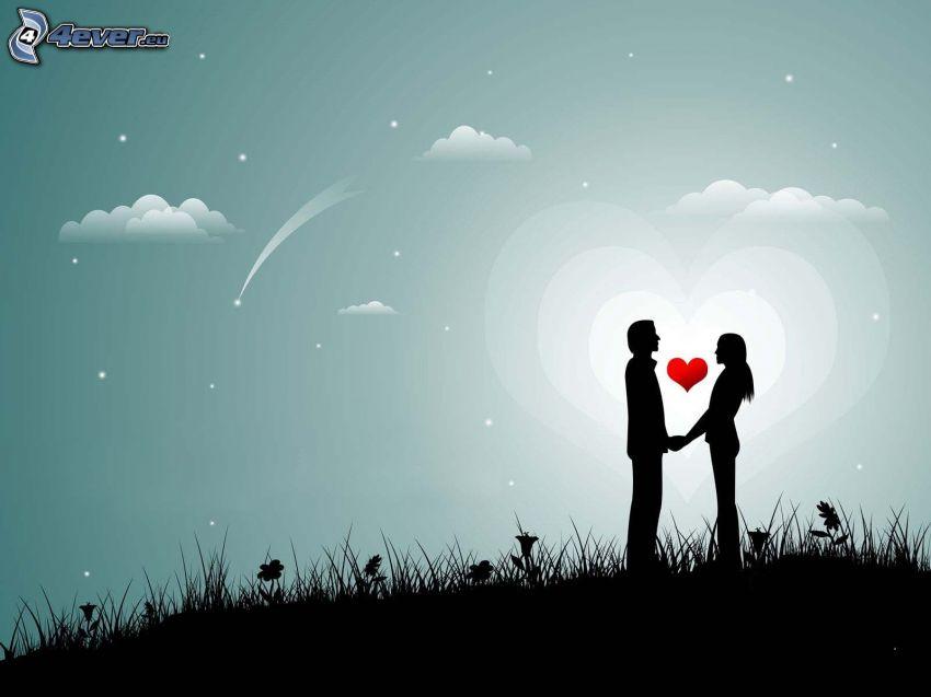 coppia animata, siluetta di una coppia, cuore, stelle