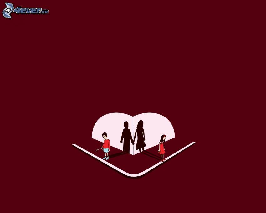 coppia animata, tristezza, separazione