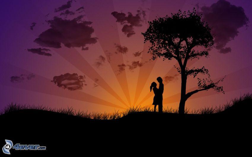 coppia sotto l'albero, coppia animata, siluetta di una coppia, arte digitale
