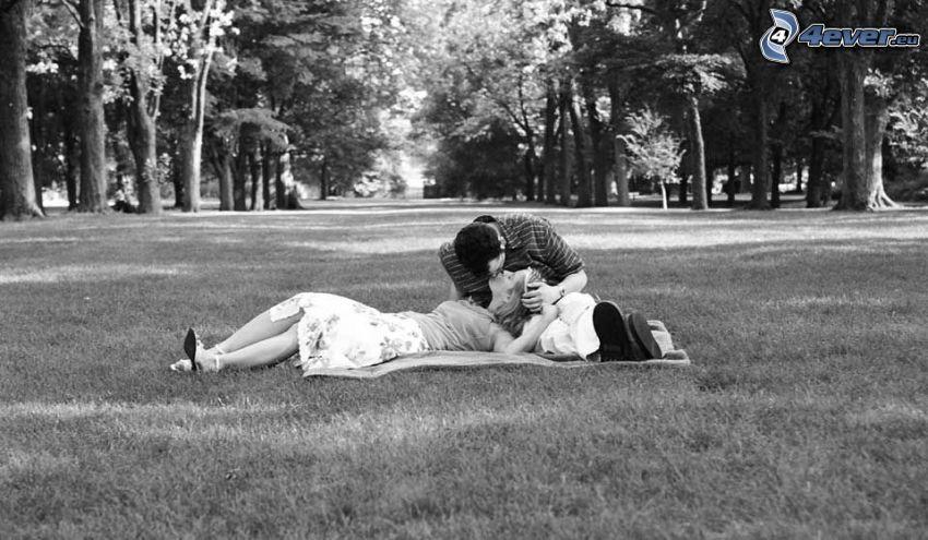 coppia sul prato, foresta, foto in bianco e nero