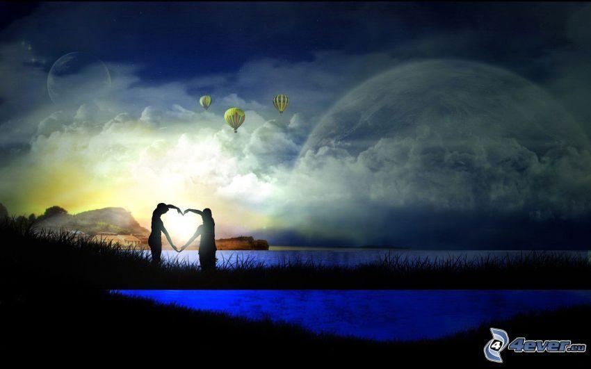 cuore delle mani, siluetta di una coppia, laghi, luna, arte digitale