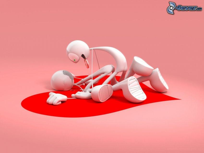 personaggi dei cartoni animati, fare l'amore, cuore