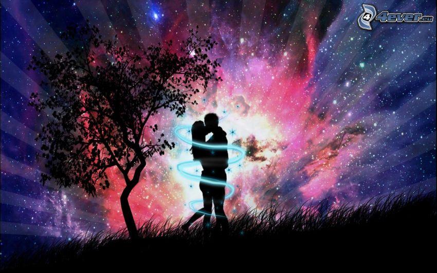siluetta di una coppia, abbraccio, bacio, universo, arte digitale