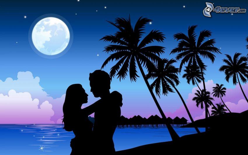 siluetta di una coppia, palme, luna, mare, case sull'acqua, cartone animato