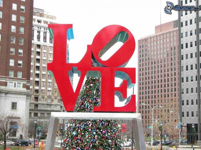 love, albero di Natale, grattacieli