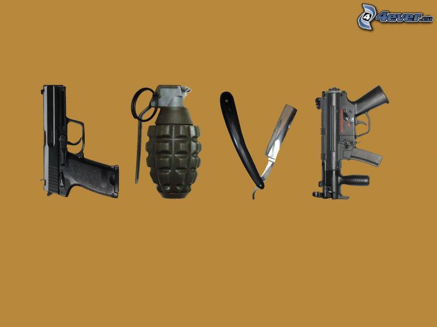 love, armi, bomba a mano, rasoio